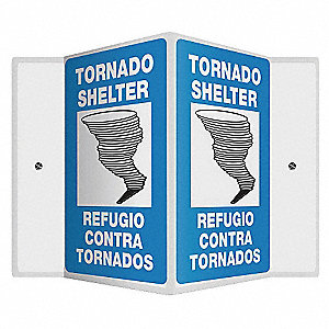 "Evacuation, Assembly or Shelter, No Header, Plastic, 12"" x 14"", With Mounting Holes, V-Shaped"