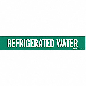 Pipe Mrkr, Refrigerated Water, 8 In orGrtr