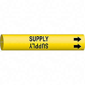Pipe Marker,Supply,Yellow,4 to 6 In