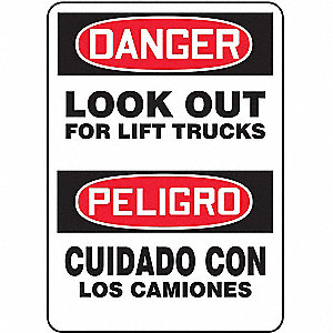 "Lift Truck Traffic, Danger/Peligro, Plastic, 14"" x 10"", With Mounting Holes, Not Retroreflective"