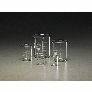 Beaker Set, Glass, Capacity: 50mL, 100mL, 250mL, 600mL, 1000mL
