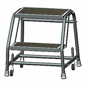 "Rolling Ladder, 19"" Overall Height, 450 lb. Load Capacity, Number of Steps 2"