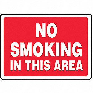 No Smoking Sign,7 x 10In,WHT/R,PLSTC,ENG