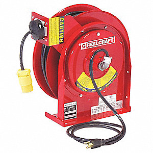 Red Retractable Cord Reel, 15 Max. Amps, Cord Ending: Single Industrial Connector