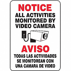 Notice Security Sign,Bilingual,14 x 10