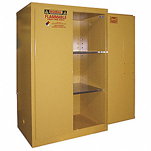 "43"" x 31"" x 65"" Galvanized Steel Flammable Liquid Safety Cabinet with Manual Doors, Red"