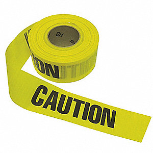 "Barricade Tape, Yellow/Black, 3"" x 500 ft., Caution Caution Caution"