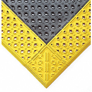 "Interlocking Drainage Mat, Black, 10 ft. x 3 ft. 6"", 1 EA"
