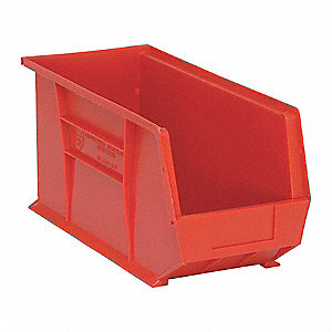 "Hang and Stack Bin, Red, 18"" Outside Length, 8-1/4"" Outside Width, 9"" Outside Height"