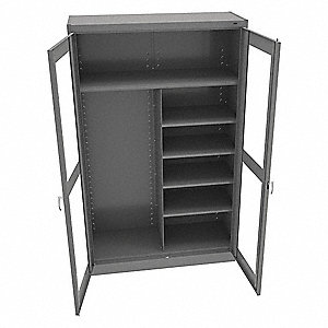 "Commercial Storage Cabinet, Medium Gray, 78"" H X 48"" W X 18"" D, Unassembled"