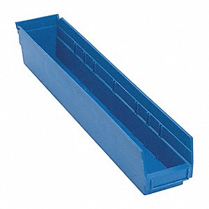 "Shelf Bin, Blue, 23-5/8"" Outside Length, 4-1/8"" Outside Width, 4"" Outside Height"