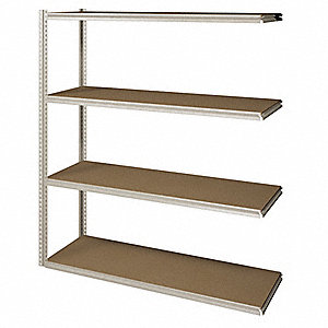 "Add-On Boltless Shelving with Particle Board Decking, 4 Shelves, 73""W x 18-5/8""D x 84""H"