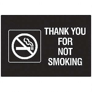 No Smoking Sign,7 x 10In,WHT/Engraved BK