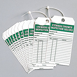 "Vinyl Eyewash/Shower Inspection Eye Wash/Shower Inspection Tag, 5-3/4"" Height, 3"" Width"