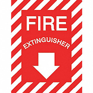 "Fire Equipment, Fire Extinguisher, Aluminum, 12"" x 9"", Surface, Not Retroreflective"