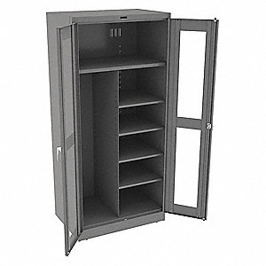 "Commercial Storage Cabinet, Medium Gray, 78"" H X 36"" W X 24"" D, Assembled"