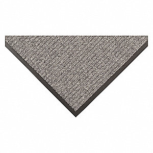 "Indoor Entrance Mat, 6 ft. L, 3 ft. W, 3/8"" Thick, Rectangle, Gray"