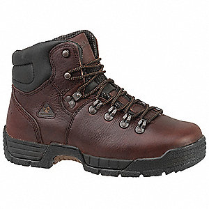 "6""H Men's Work Boots, Steel Toe Type, Leather Upper Material, Dark Brown, Size 9-1/2M"