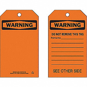 "Warning Tag, Accident Prevention, Polyester, 7"" x 4"""