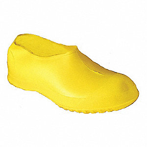 "5""H Men's Overshoes, Plain Toe Type, PVC Upper Material, Yellow, Size S"