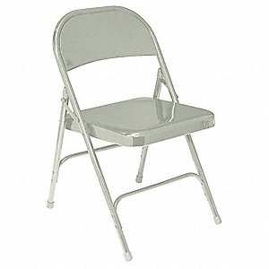 Folding Chair, Steel, Gray,PK4