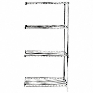 "72"" x 18"" x 86"" Steel Wire Shelving Unit, Silver&#x3b; Number of Shelves: 4"