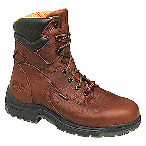 "8""H Men's Work Boots, Alloy Toe Type, Leather Upper Material, Reddish Brown, Size 7W"