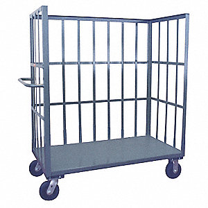"66""L x 37""W x 57""H Gray Welded Steel 3 Sided Slat Stock Cart, 2000 lb. Load Capacity, Number of Shel"