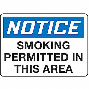 Smoking Area Sign,10 x 14In,PLSTC,ENG