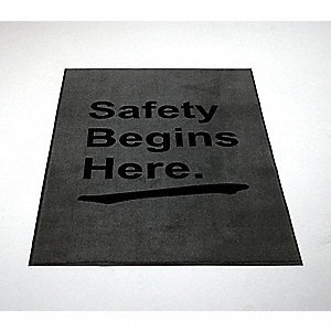 "Indoor Entrance Mat, 6 ft. L, 3 ft. 9"" W, 1/2"" Thick, Rectangle, Gray"
