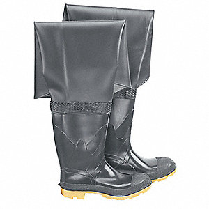 "Men's Black Roll Down Hip Waders, Size: 11, 32"" Inseam"