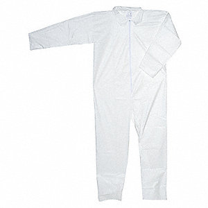 Collared Disposable Coveralls with Open Cuff, White, XL, Microporous Polyolefin