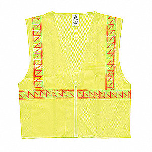 Yellow/Green with Yellow/Green Stripe Traffic Vest, ANSI 2, Zipper Closure, M