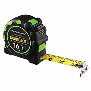 16 ft. Stainless Steel SAE Magnetic Tip Tape Measure, Black