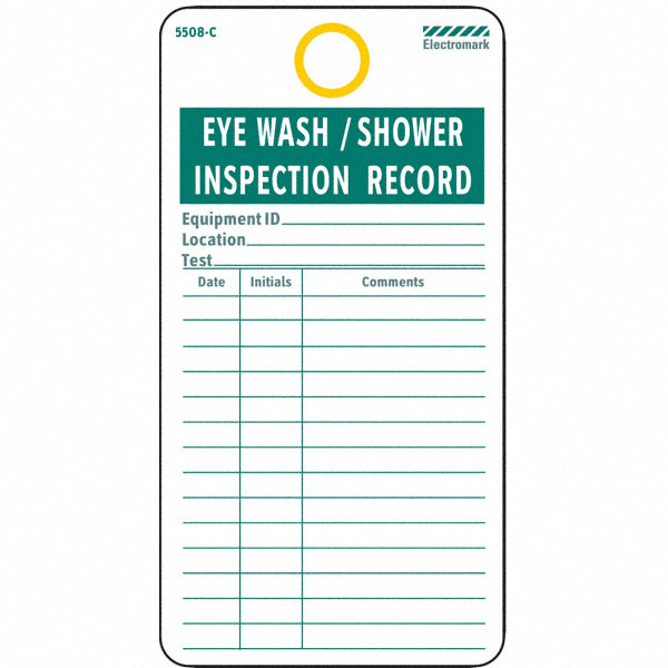 Electromark cardstock eyewash shower inspection record eye for General motors extended warranty plans