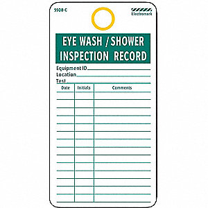 Electromark Eye Wash Sh Inspection Rcd Tag Pk25 8z511