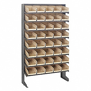 "Steel Pick Rack with 40 Bins, 36""W x 12""D x 60""H, Load Capacity: 400 lb., Gray"