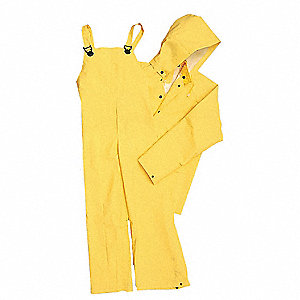 Men's PVC Flame-Resistant 2-Piece Rainsuit with Hood, Yellow, S