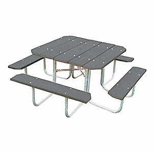 ULTRASITE D X W Square Steel ADA Picnic Table Gray ZA - Ada picnic table requirements