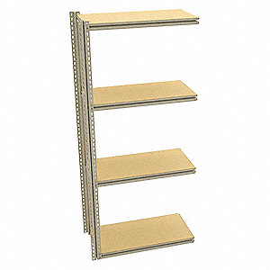 "Add-On Boltless Shelving with Particle Board Decking, 4 Shelves, 37""W x 18-5/8""D x 84""H"
