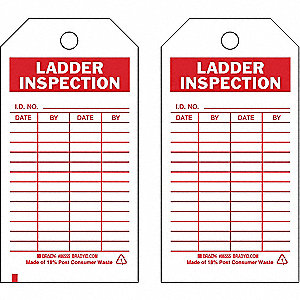 Lad Inspection Tag, 5-3/4 x 3 In, PK10