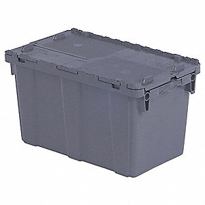 "Attached Lid Container, Gray, 13-3/4""H x 22-1/4""L x 13""W, 1EA"