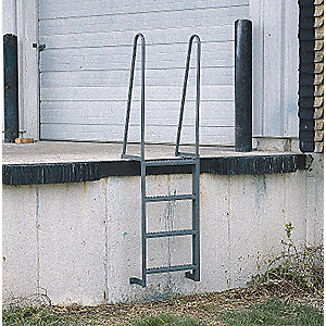 "Fixed Ladder, Steel, 7 ft. Overall Height, 23-1/2"" Overall Width, 300 lb. Load Capacity"