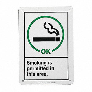 Smoking Permitted Sign,10x7,BK/GRN