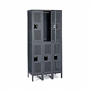 Wrdrb Lockr,Vent,3 Wide, 2 Tier,Gray