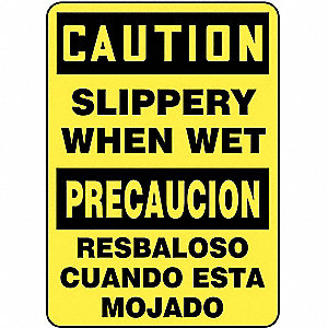 "Accident Prevention, Caution/Precaucion, Aluminum, 14"" x 10"", Not Retroreflective"