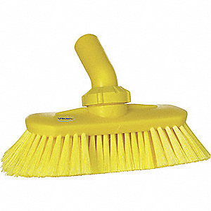 "9-1/4""L Polyester Replacement Brush Head Scrub Brush, Yellow"
