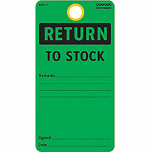 "Cardstock Return To Stock Inspection Record Tag, 5-3/4"" Height, 3"" Width"