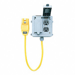 Plg-In GFCI with Cord,2 ft.,Ylw,15A,120