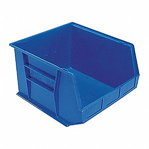 "Hang and Stack Bin, Blue, 18"" Outside Length, 16-1/2"" Outside Width, 11"" Outside Height"